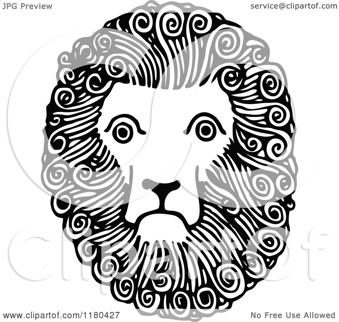 Clipart Of A Retro Vintage Black And White Lion Face