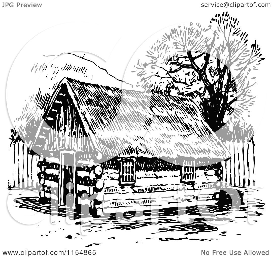 Clipart Of A Retro Vintage Black And White Log Cabin