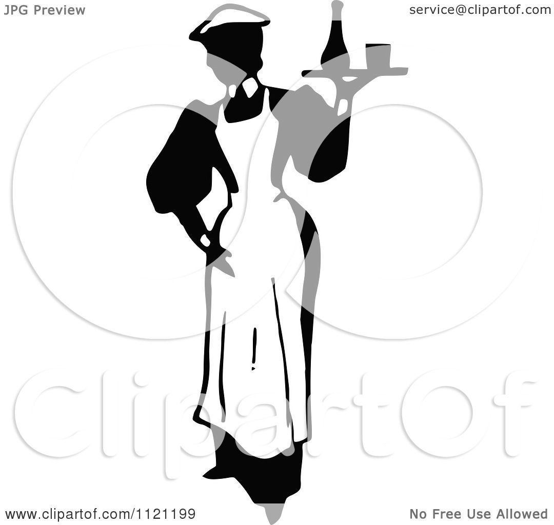 Clipart Of A Retro Vintage Black And White Maid Serving A