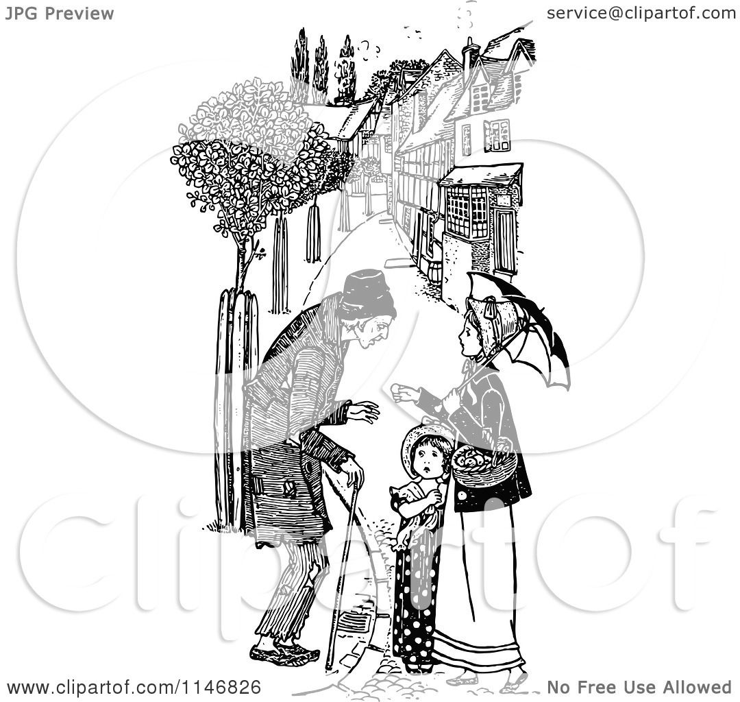 Clipart Of A Retro Vintage Black And White Male Beggar And