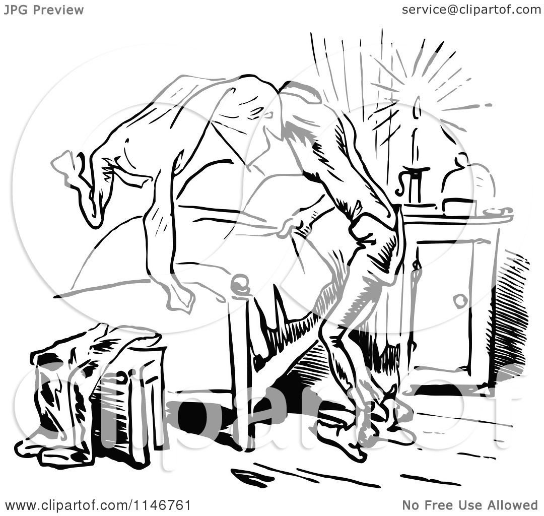Clipart Of A Retro Vintage Black And White Man Removing