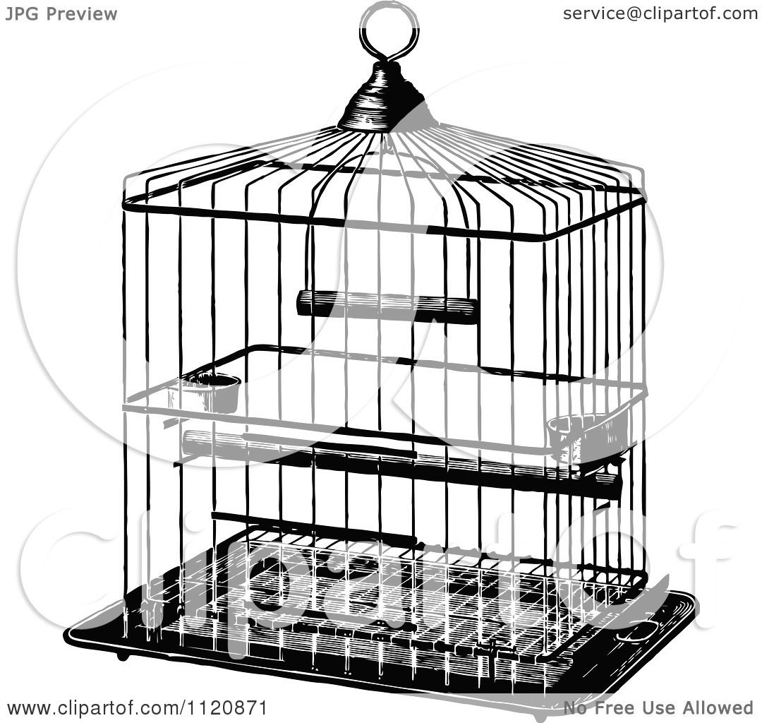 Clipart Of A Retro Vintage Black And White Metal Bird Cage
