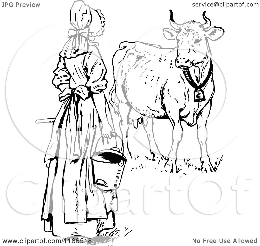 Clipart Of A Retro Vintage Black And White Milk Maid By A