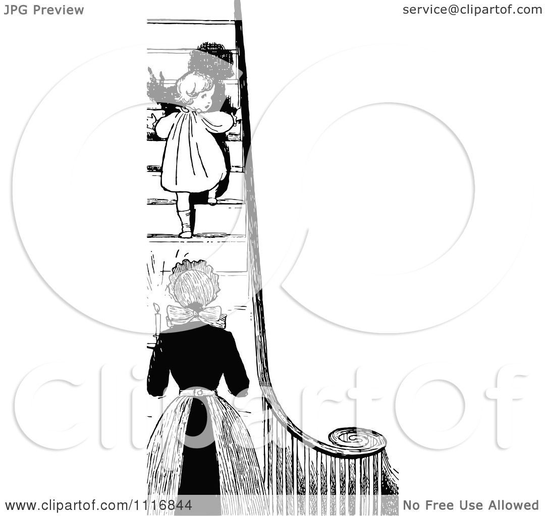 Clipart Of A Retro Vintage Black And White Mother Sending