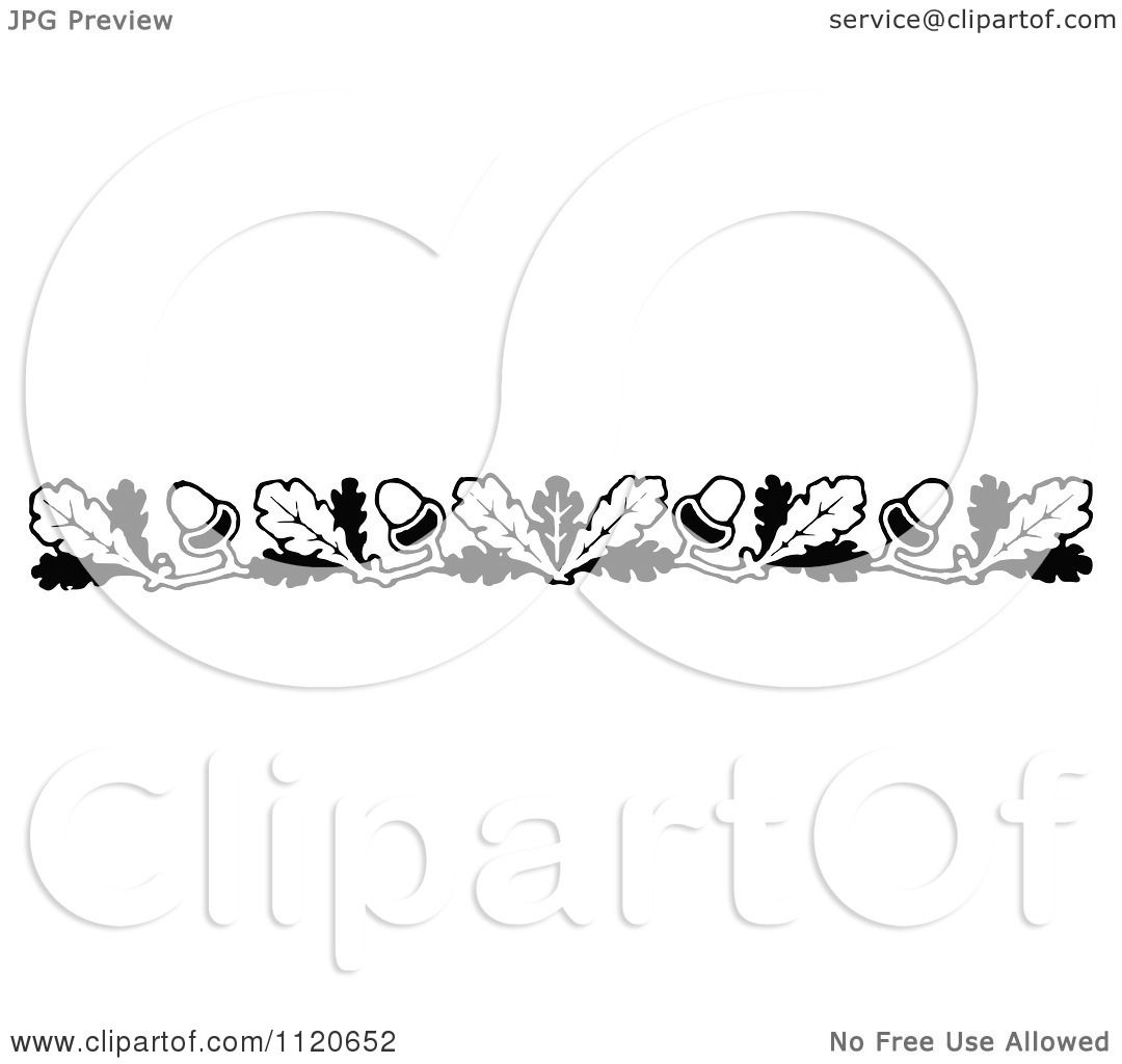 Clipart Of A Retro Vintage Black And White Oak Leaf And