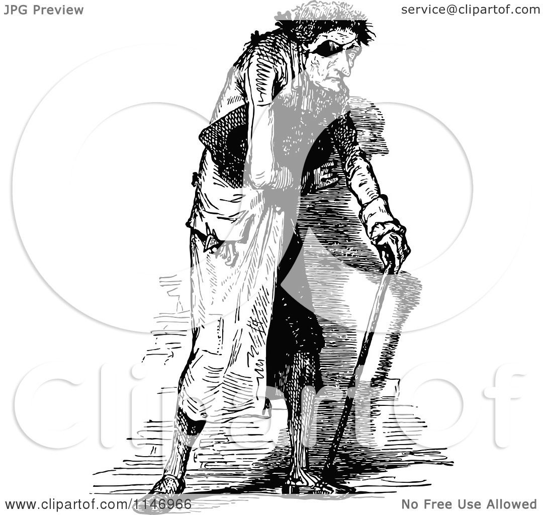 Clipart Of A Retro Vintage Black And White Old Man