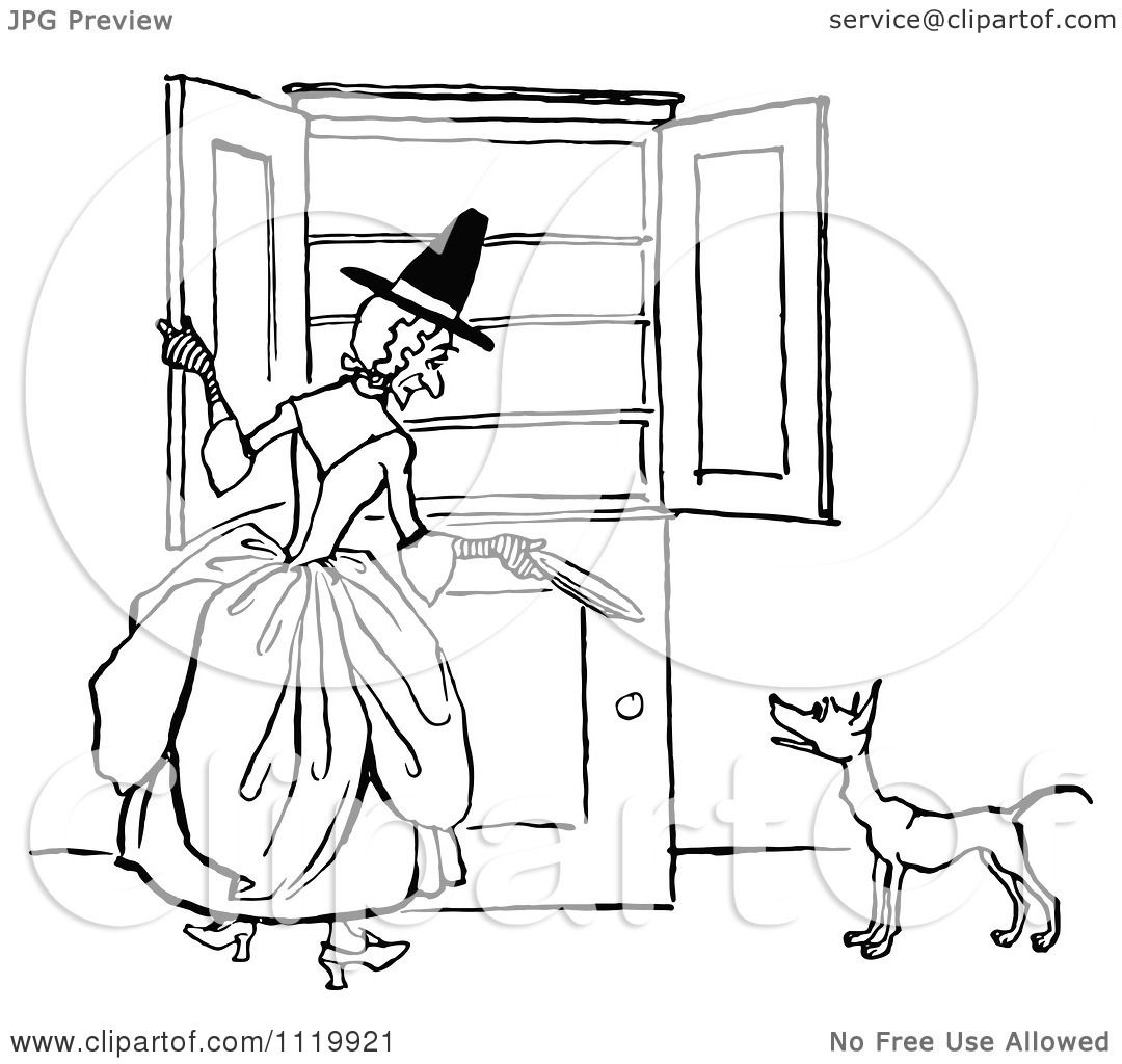 Clipart Of A Retro Vintage Black And White Old Mother