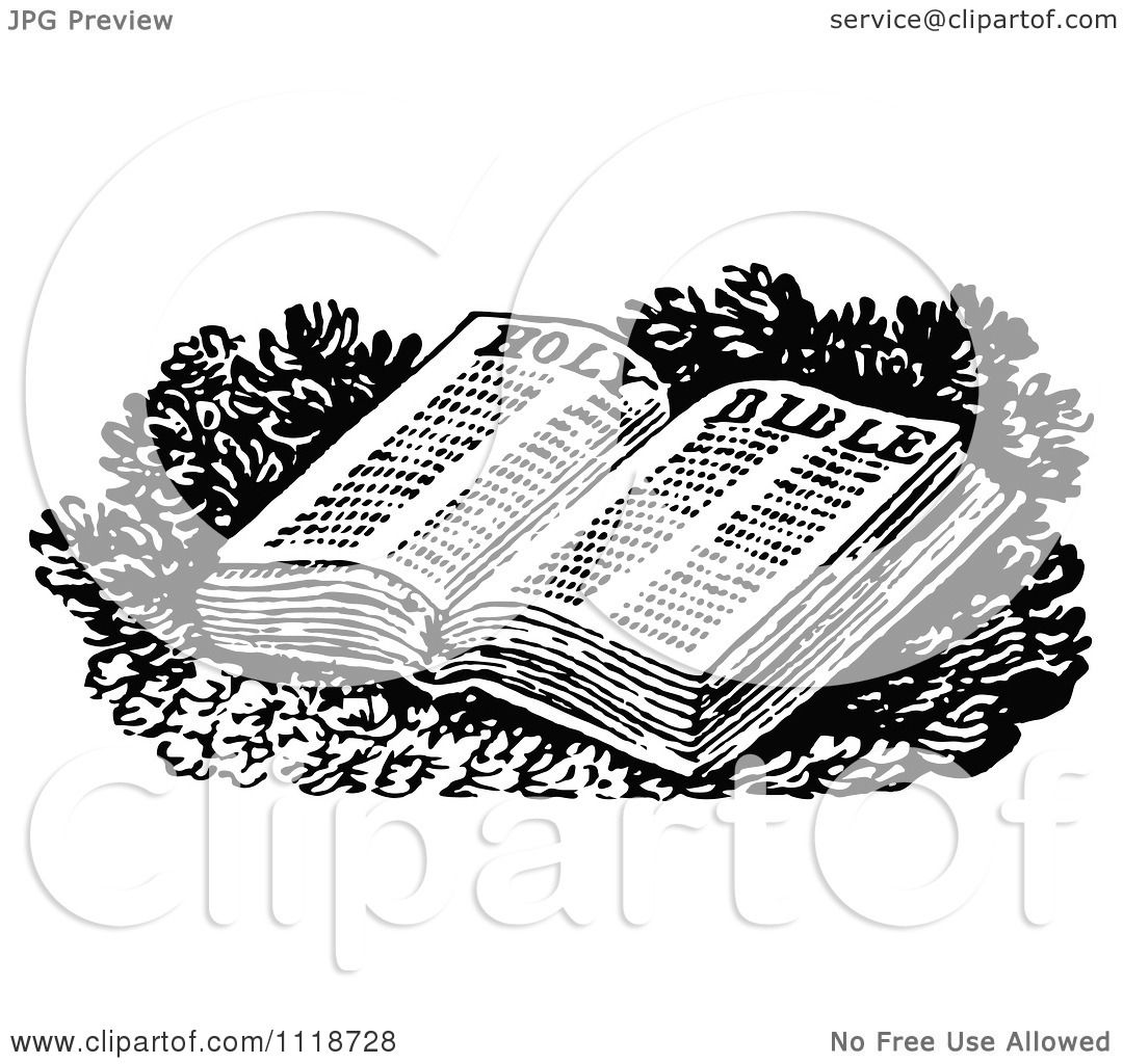 Clipart Of A Retro Vintage Black And White Open Holy Bible