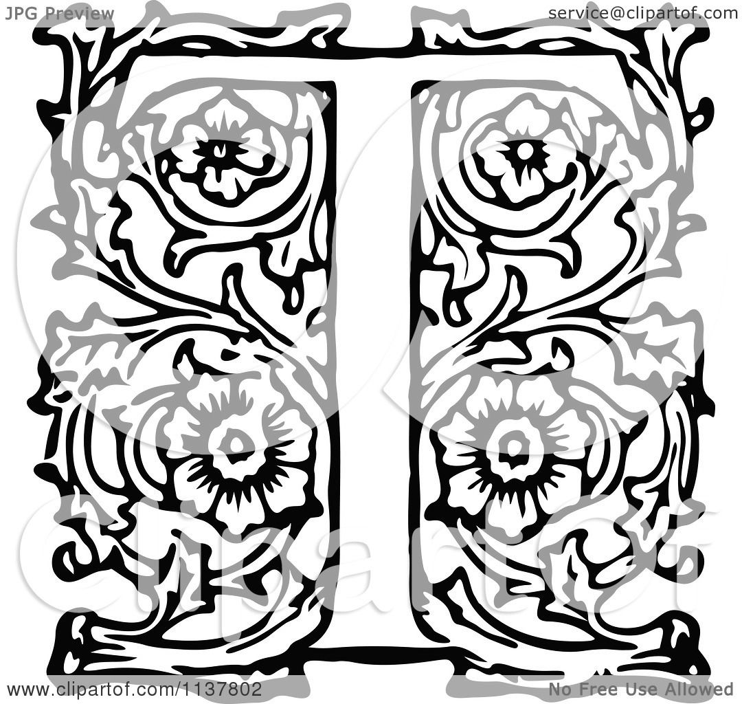 Clipart Of A Retro Vintage Black And White Ornate Letter T