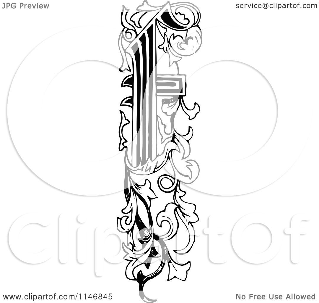 Clipart Of A Retro Vintage Black And White Ornate Vertical