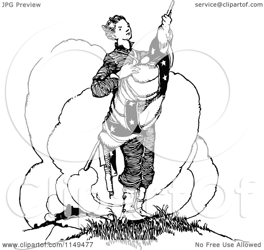 Clipart Of A Retro Vintage Black And White Patriotic Man Holding A Flag