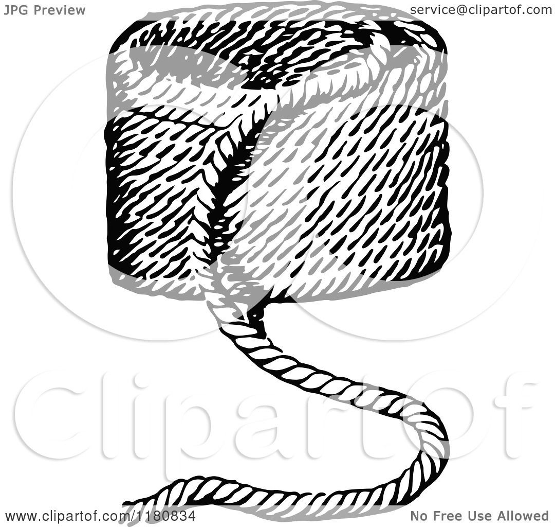 Clipart Of A Retro Vintage Black And White Pile Of Rope