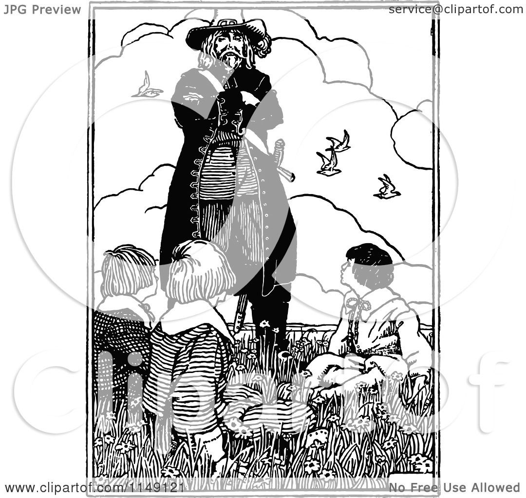 Clipart Of A Retro Vintage Black And White Pirate Looking