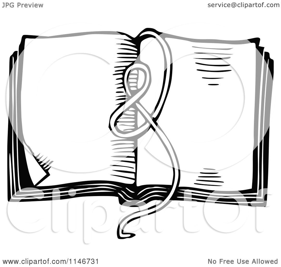 Clipart Of A Retro Vintage Black And White Ribbon On An