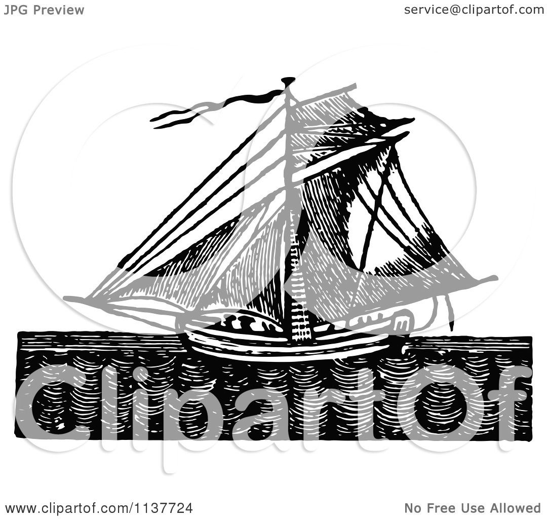 Clipart Of A Retro Vintage Black And White Sailing Ship At