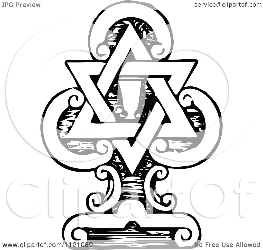 Clipart Of A Retro Vintage Black And White Star Of David