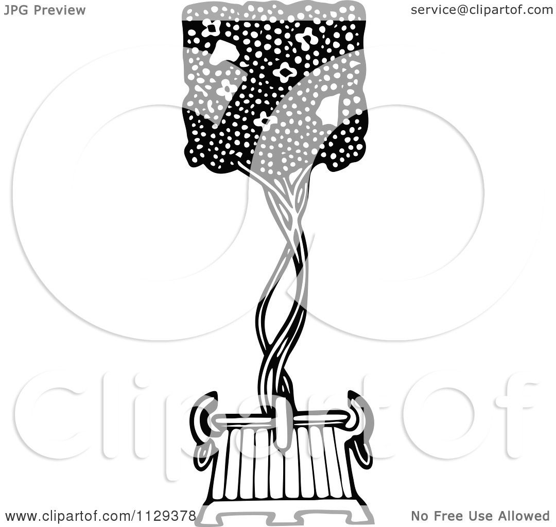 Clipart Of A Retro Vintage Black And White Topiary Bush