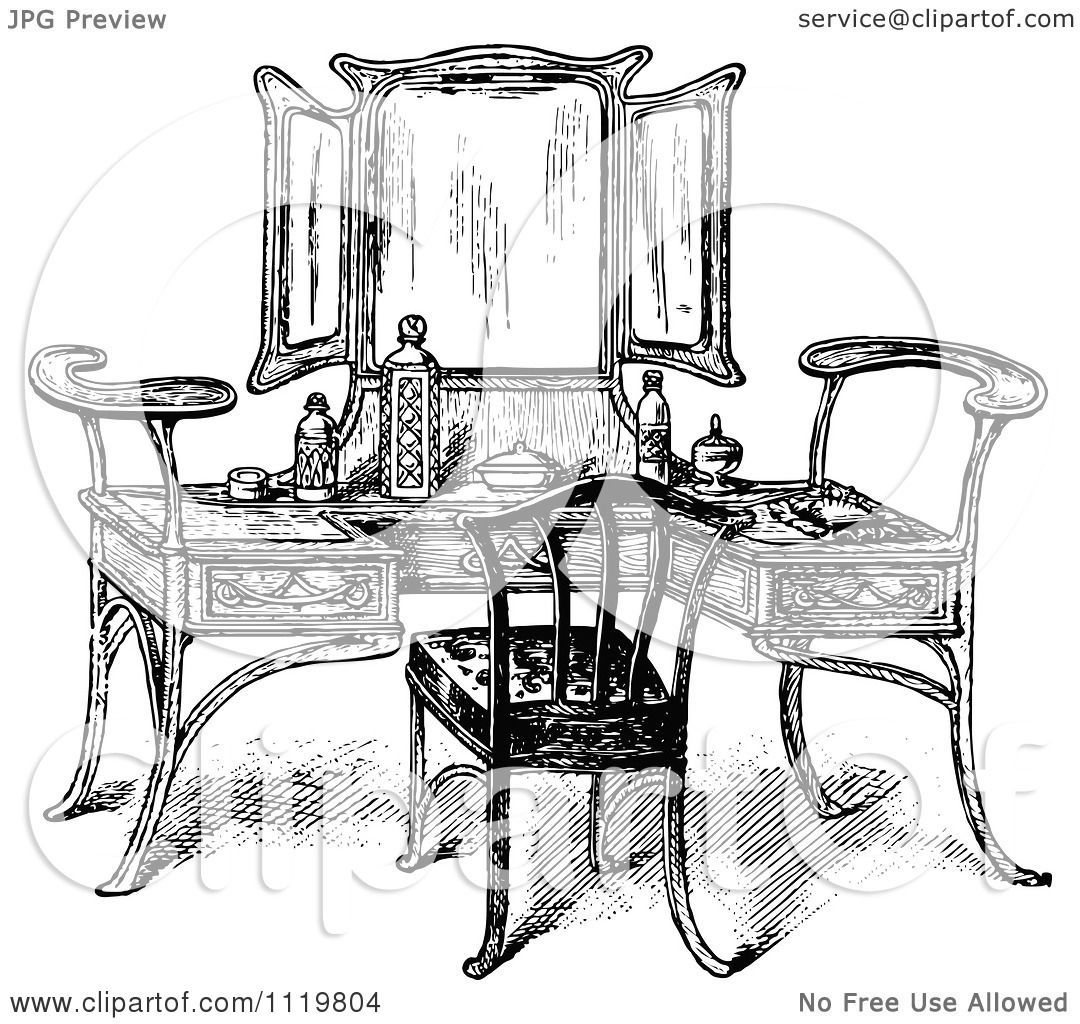 Clipart Of A Retro Vintage Black And White Vanity Table