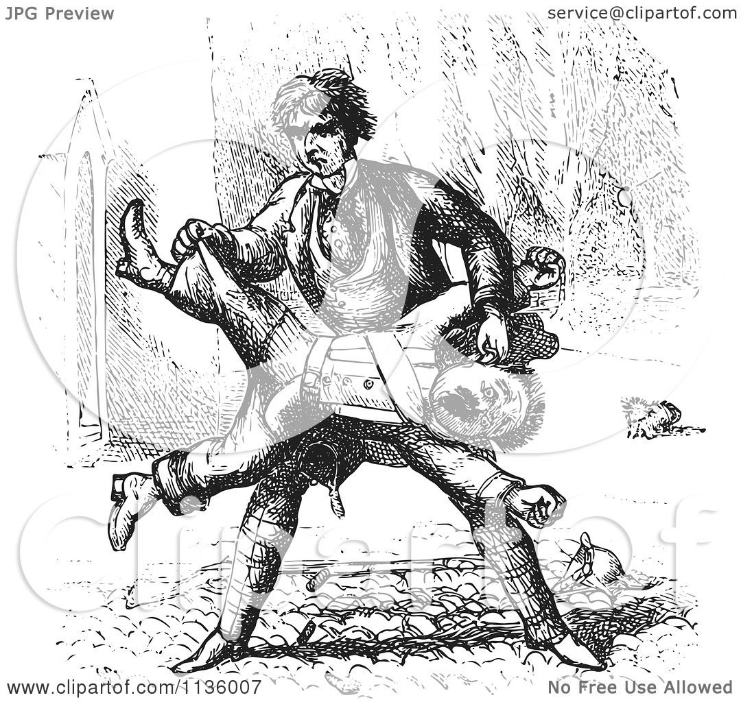Clipart Of A Retro Vintage Man Beating Up A Guard In Black
