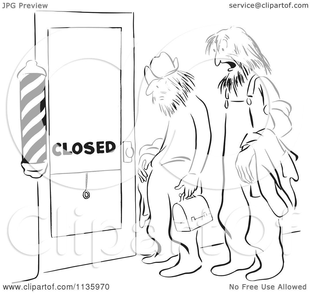 Clipart Of A Retro Vintage Shaggy Men At A Closed Barber