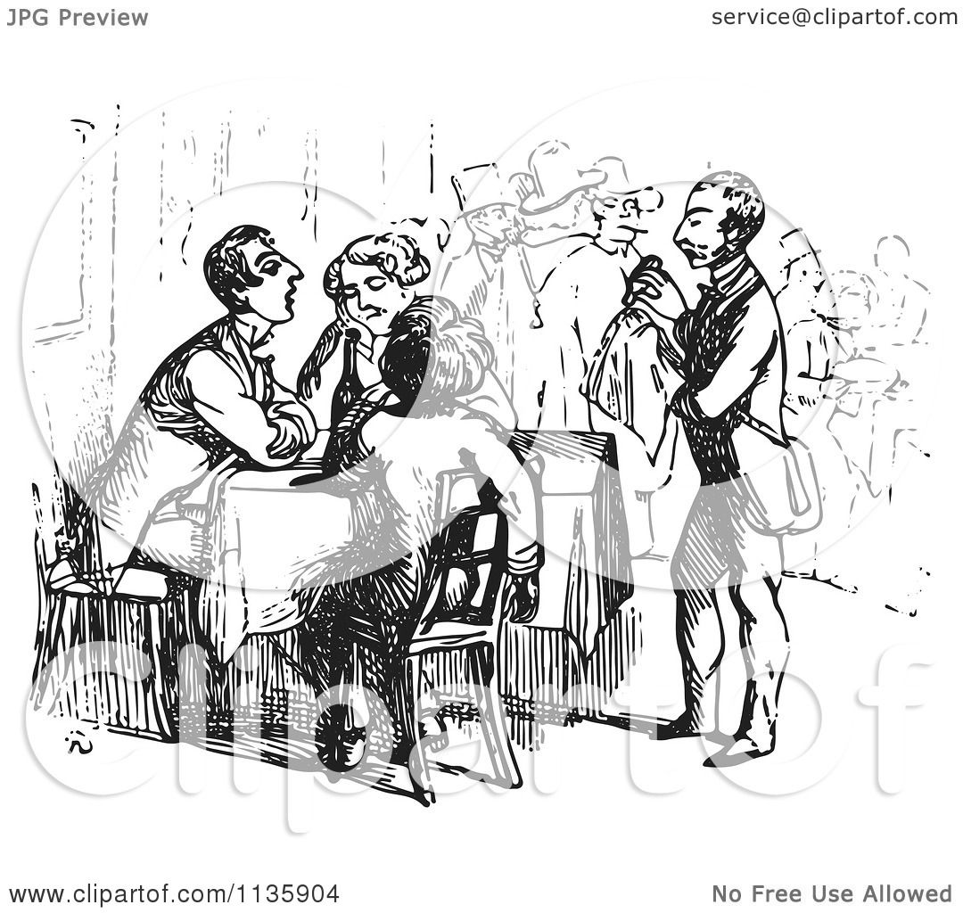 Clipart Of A Retro Vintage Waiter Tending To Tired Travelers In Black And White