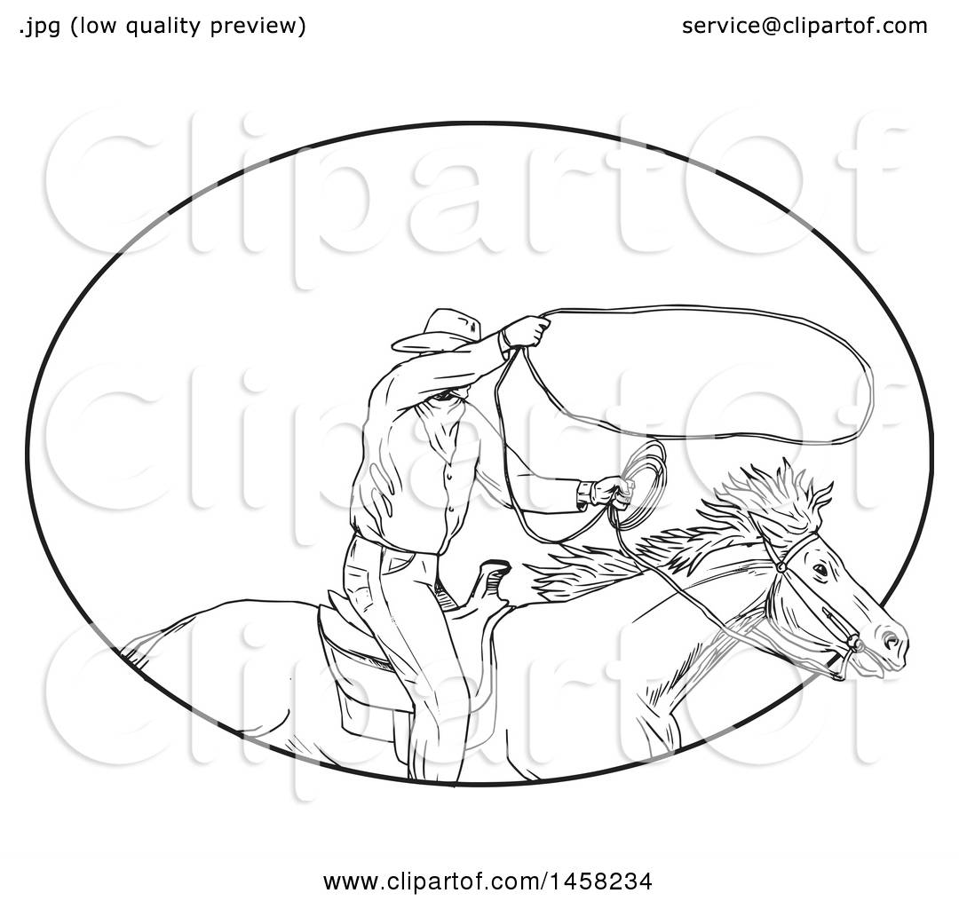 Clipart Of A Roping Cowboy With A Lasso On Horseback In