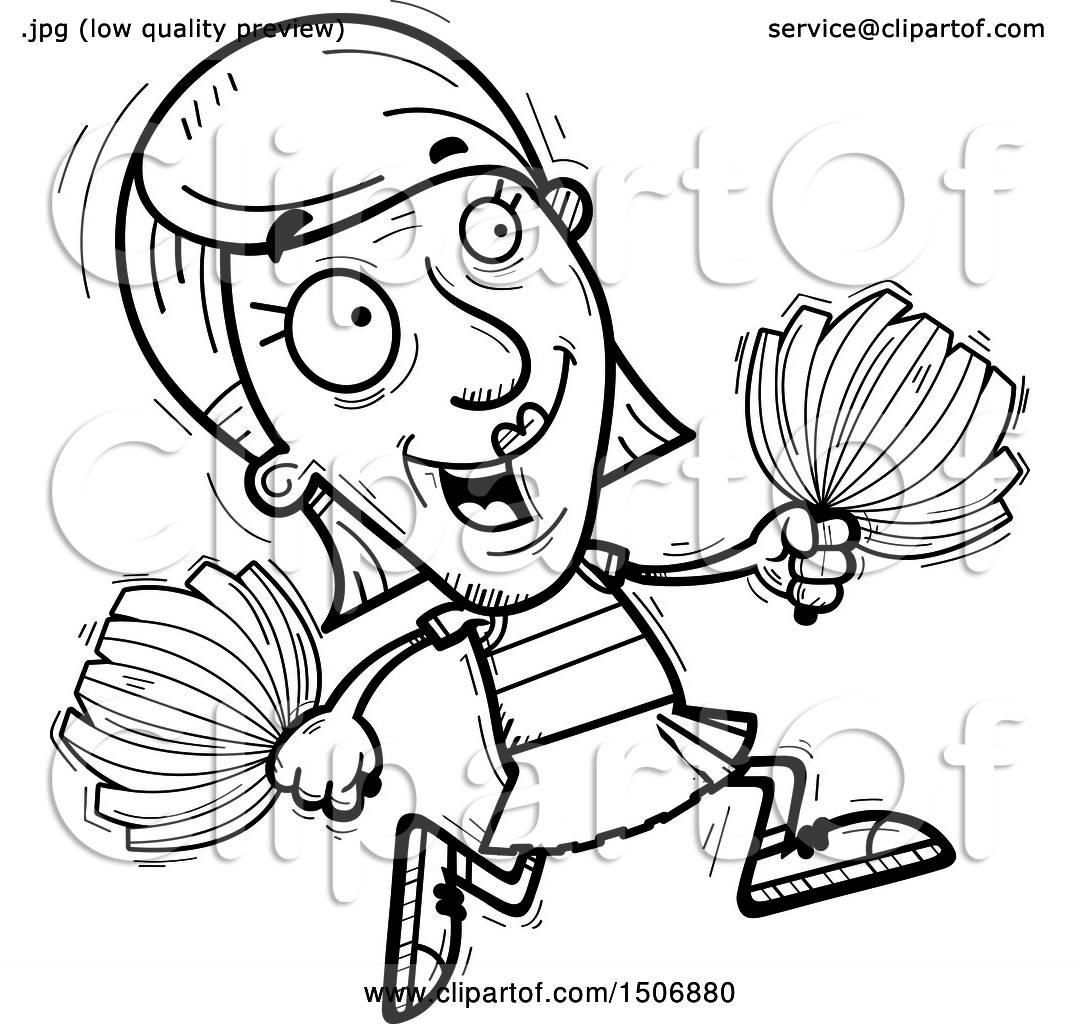 Clipart Of A Running Senior Female Cheerleader