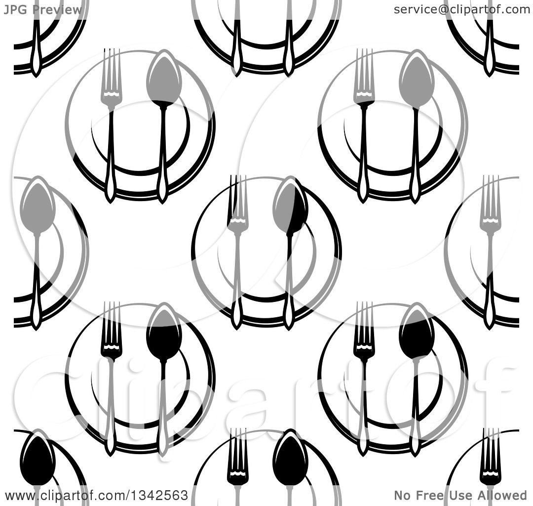 Clipart Of A Seamless Background Design Pattern Of Black And White Plates Spoons And Forks