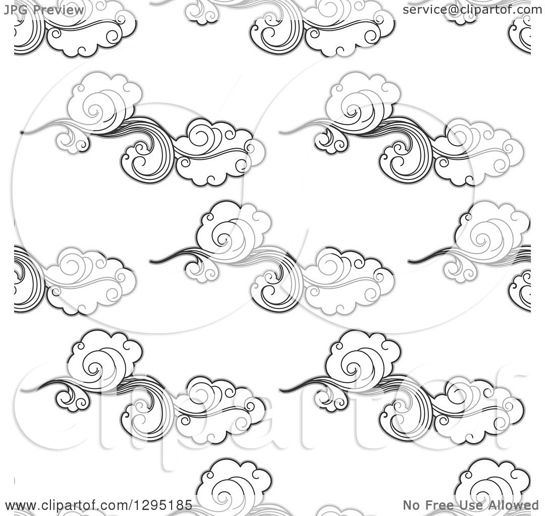 Clipart Of A Seamless Background Pattern Of Black And White Clouds In The Breeze