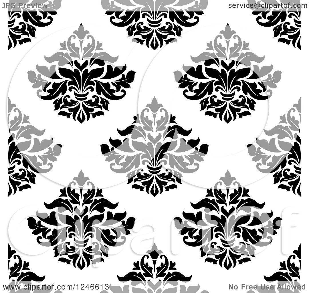 Clipart Of A Seamless Background Pattern Of Black And White Damask Floral 21