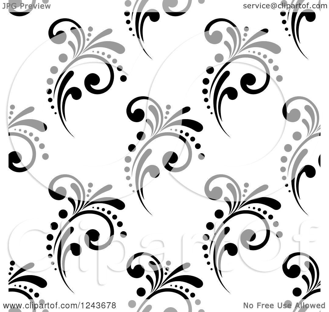 Clipart Of A Seamless Background Pattern Of Black And White Flourishes