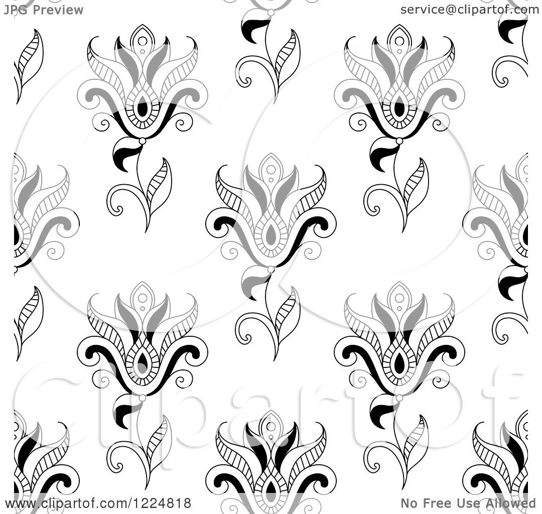 Clipart Of A Seamless Background Pattern Of Black And White Paisley Flowers