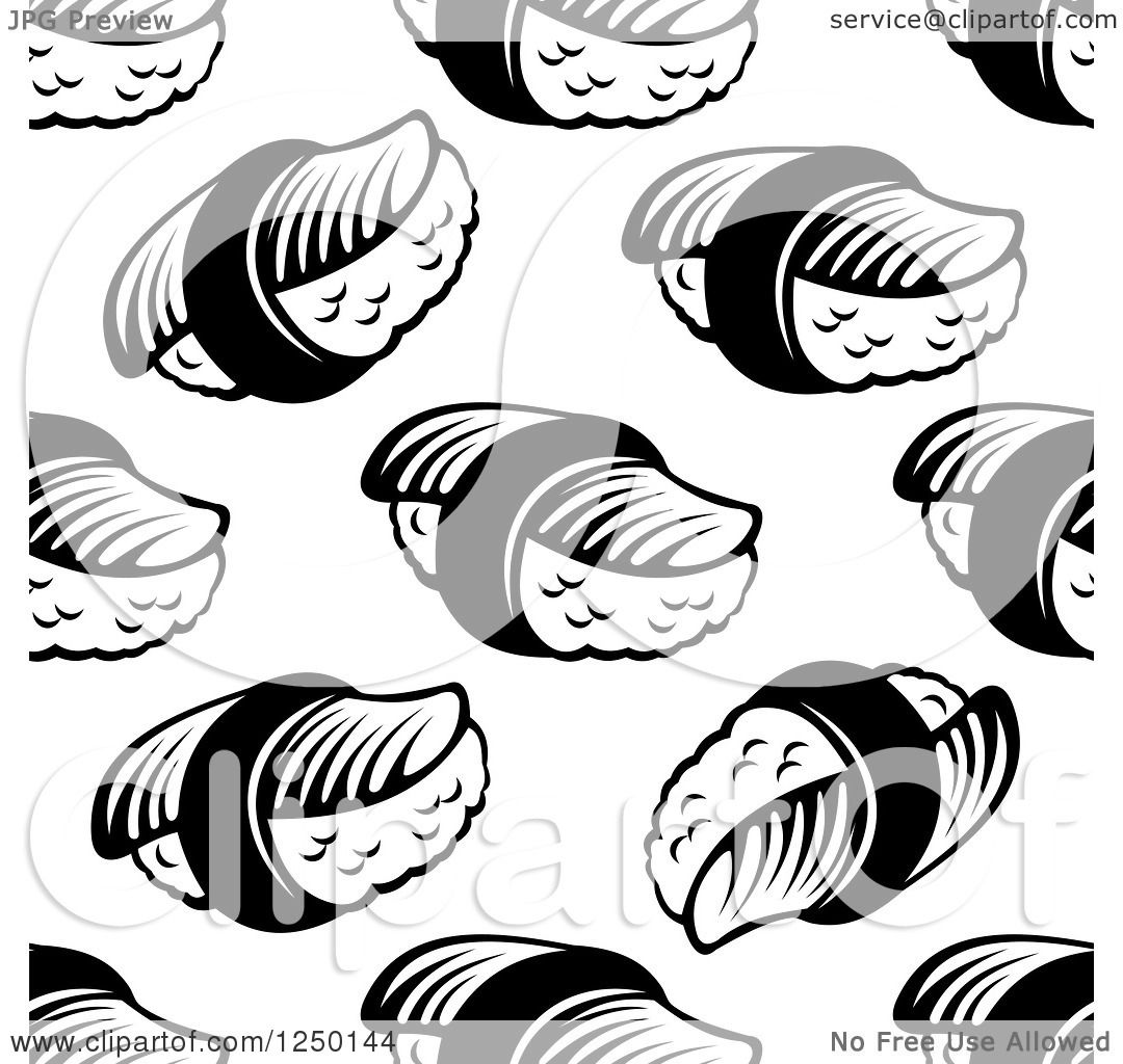 Clipart Of A Seamless Background Pattern Of Sushi In Black And White