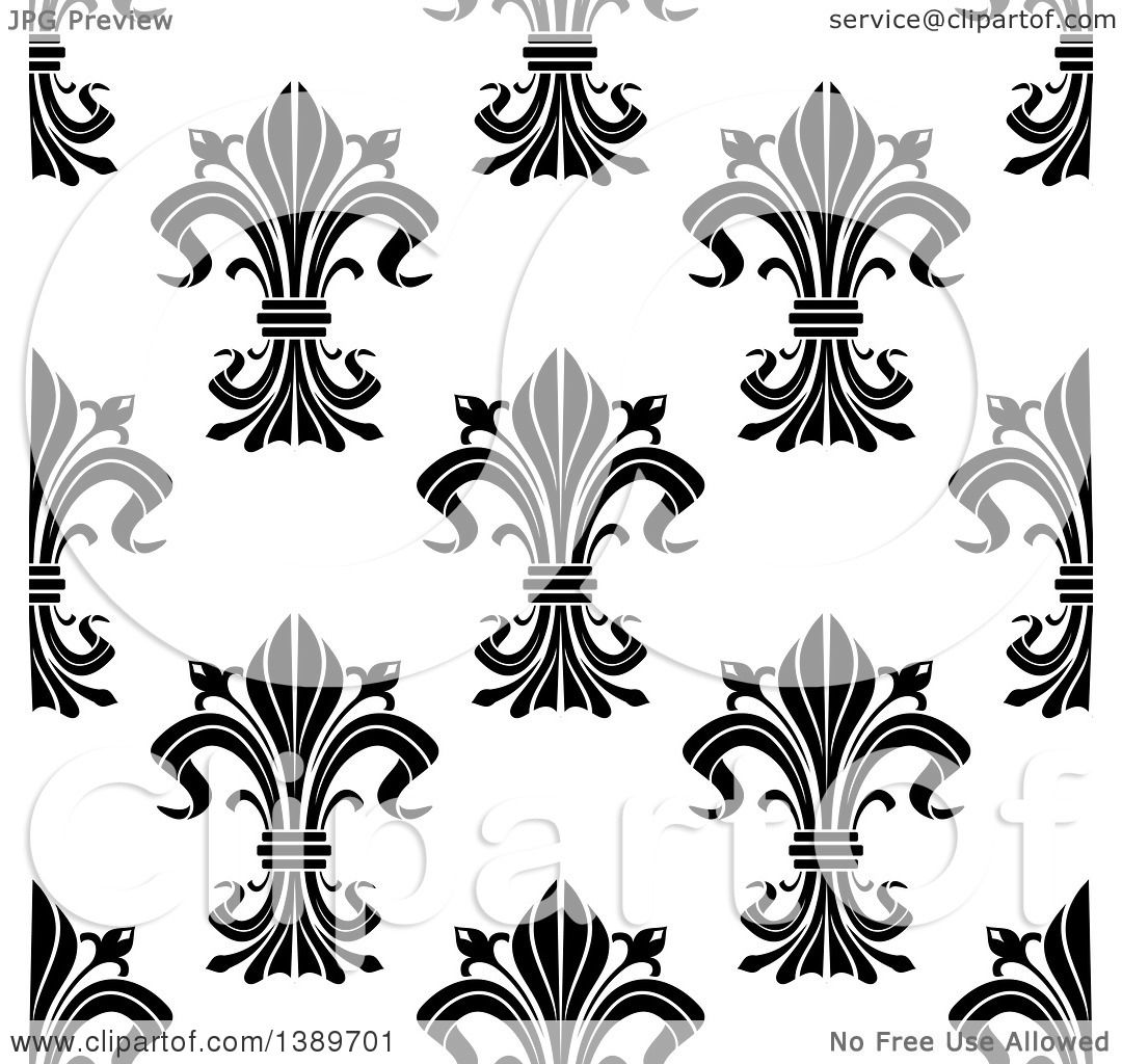 Clipart Of A Seamless Pattern Background Of Black And White Fleur De Lis