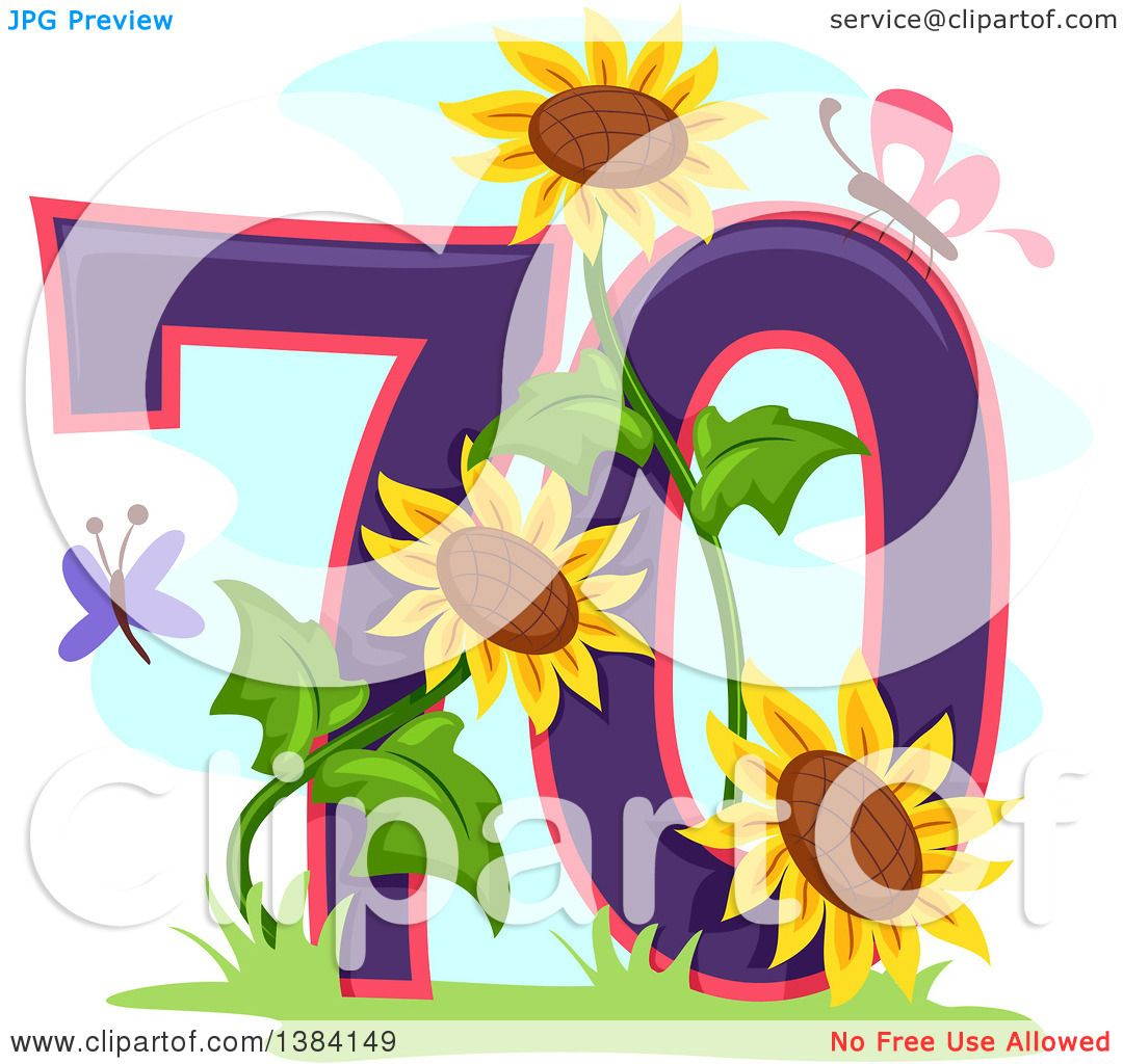 Download Clipart of a Seventieth Anniversary or Birthday Design ...