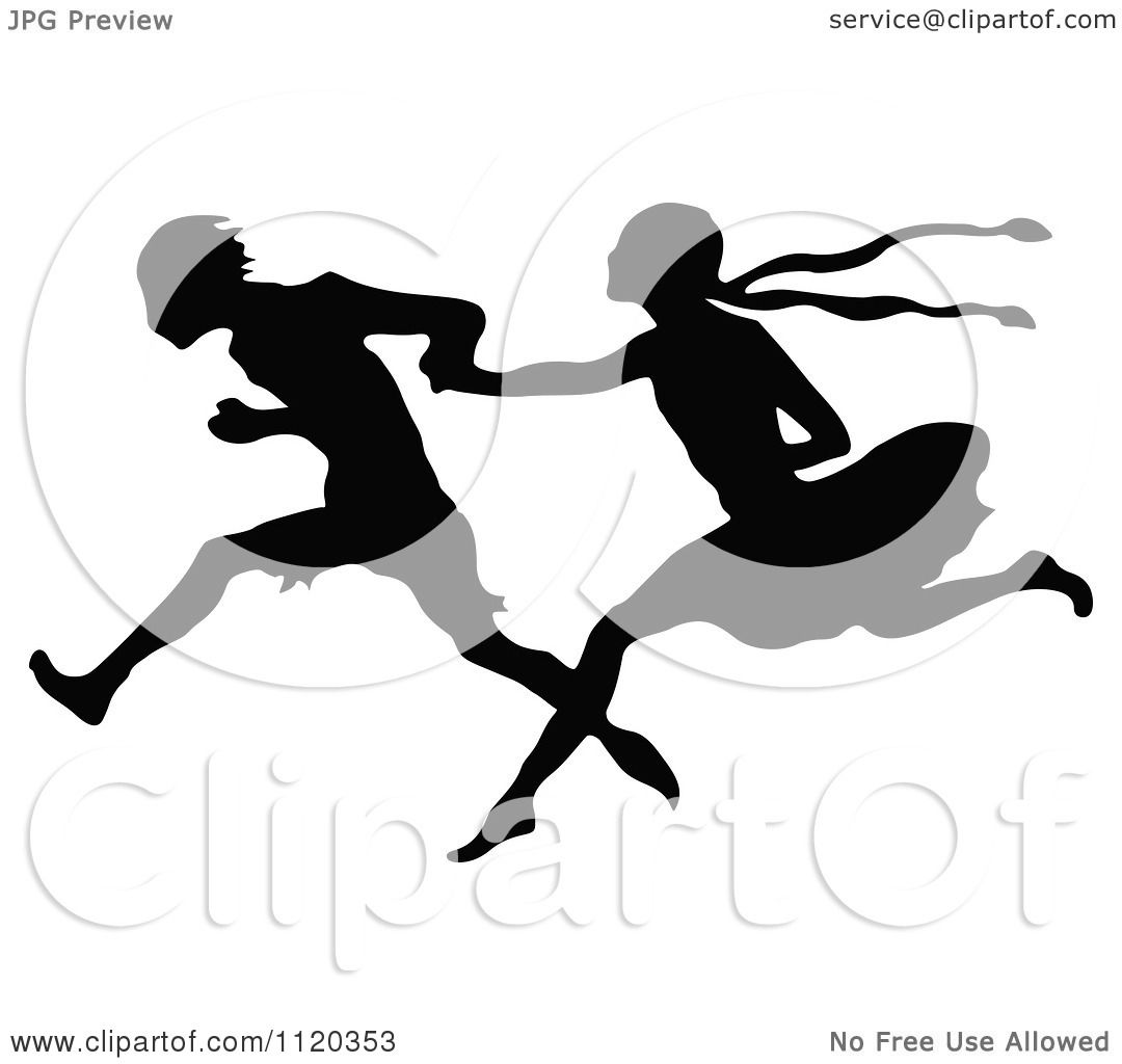Clipart Of A Silhouetted Couple Running And Holding Hands
