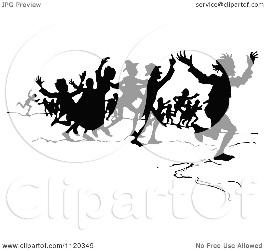 Clipart Of A Silhouetted Crowd Running