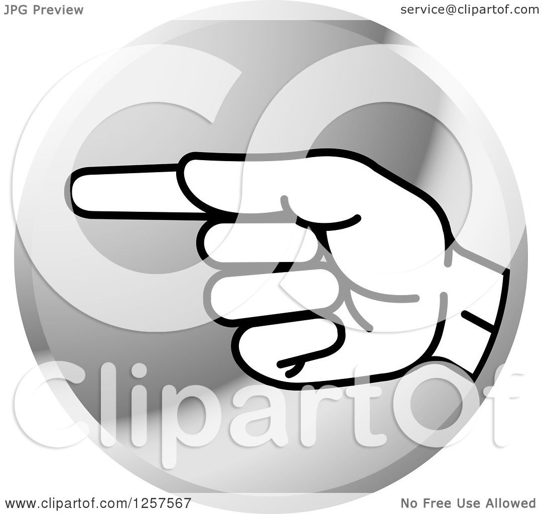 Clipart Of A Silver Icon Of A Sign Language Hand Gesturing