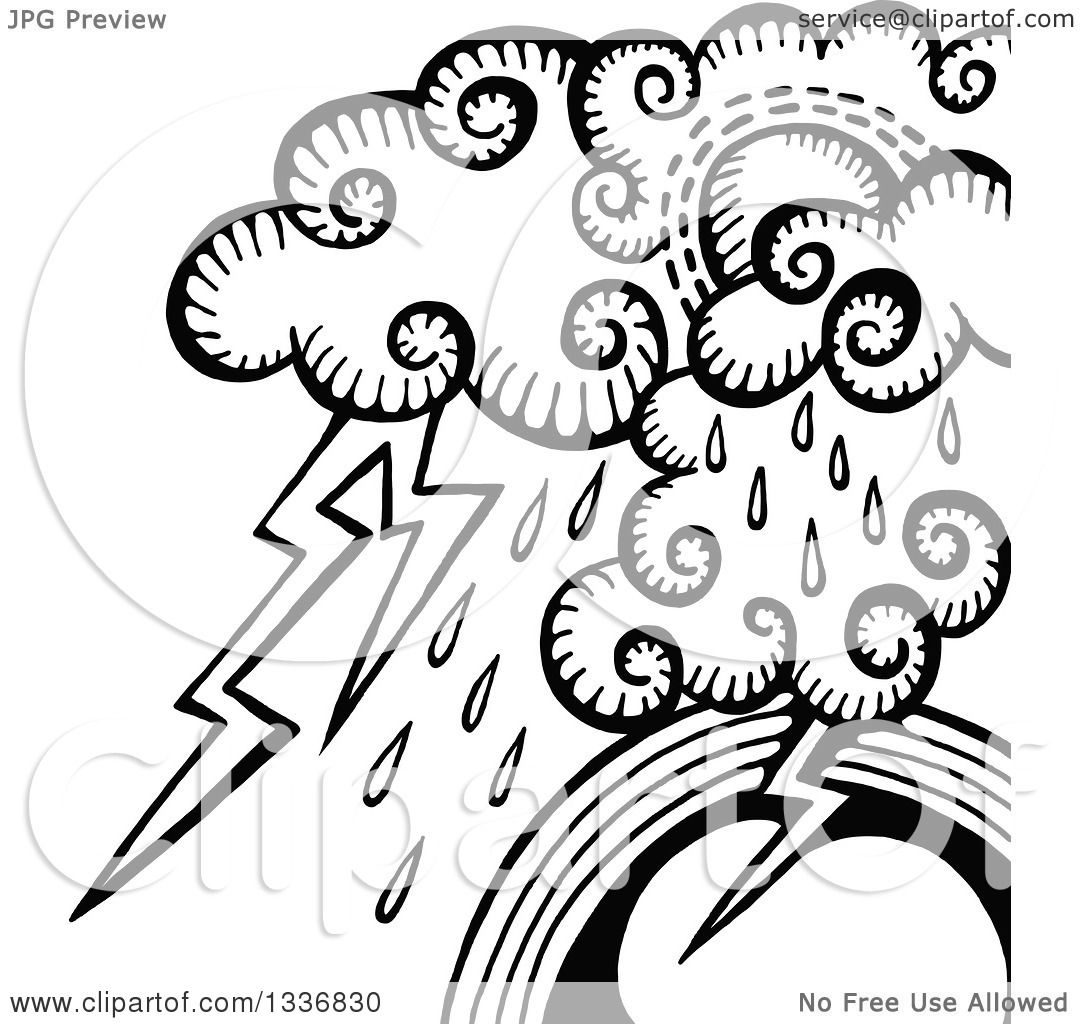 Clipart Of A Sketched Black And White Doodle Of Storm