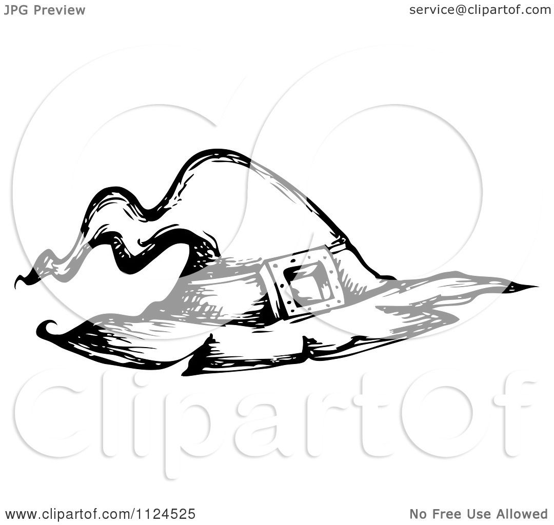 Clipart Of A Sketched Black And White Halloween Witch Hat
