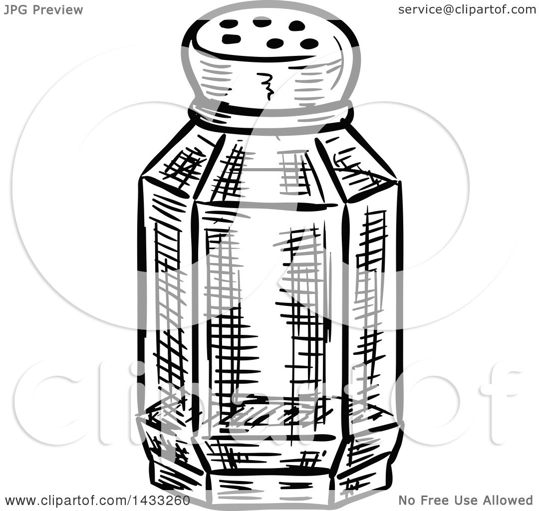 Clipart Of A Sketched Black And White Salt Or Pepper