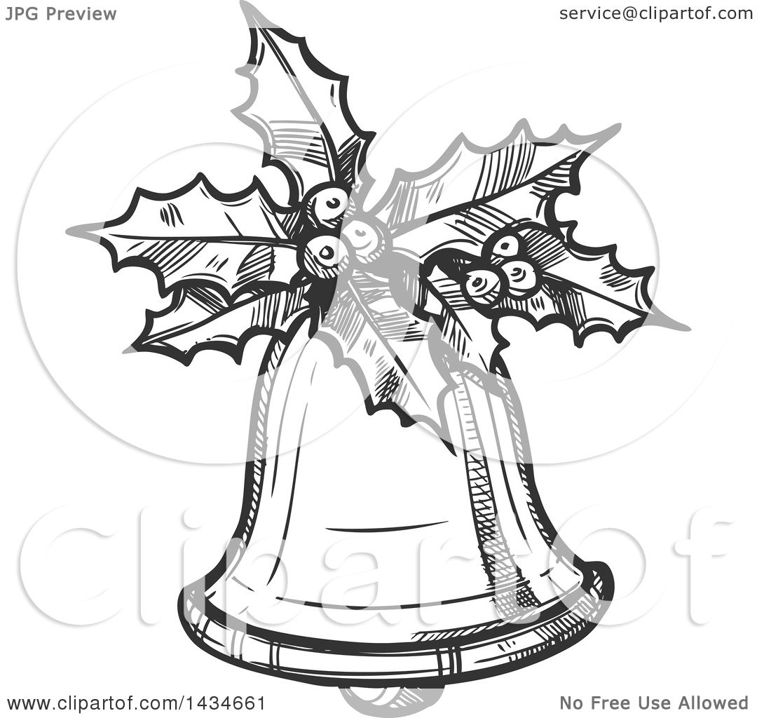 Clipart Of A Sketched Dark Gray Christmas Bell