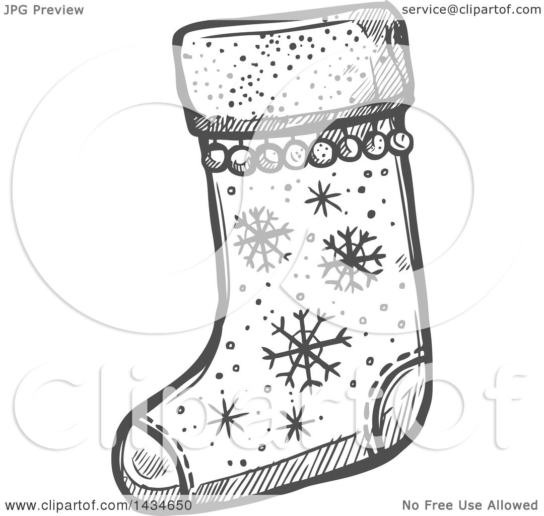 Clipart Of A Sketched Dark Gray Christmas Stocking