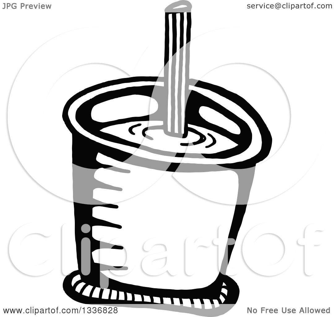 Clipart Of A Sketched Doodle Of A Black And White Drink