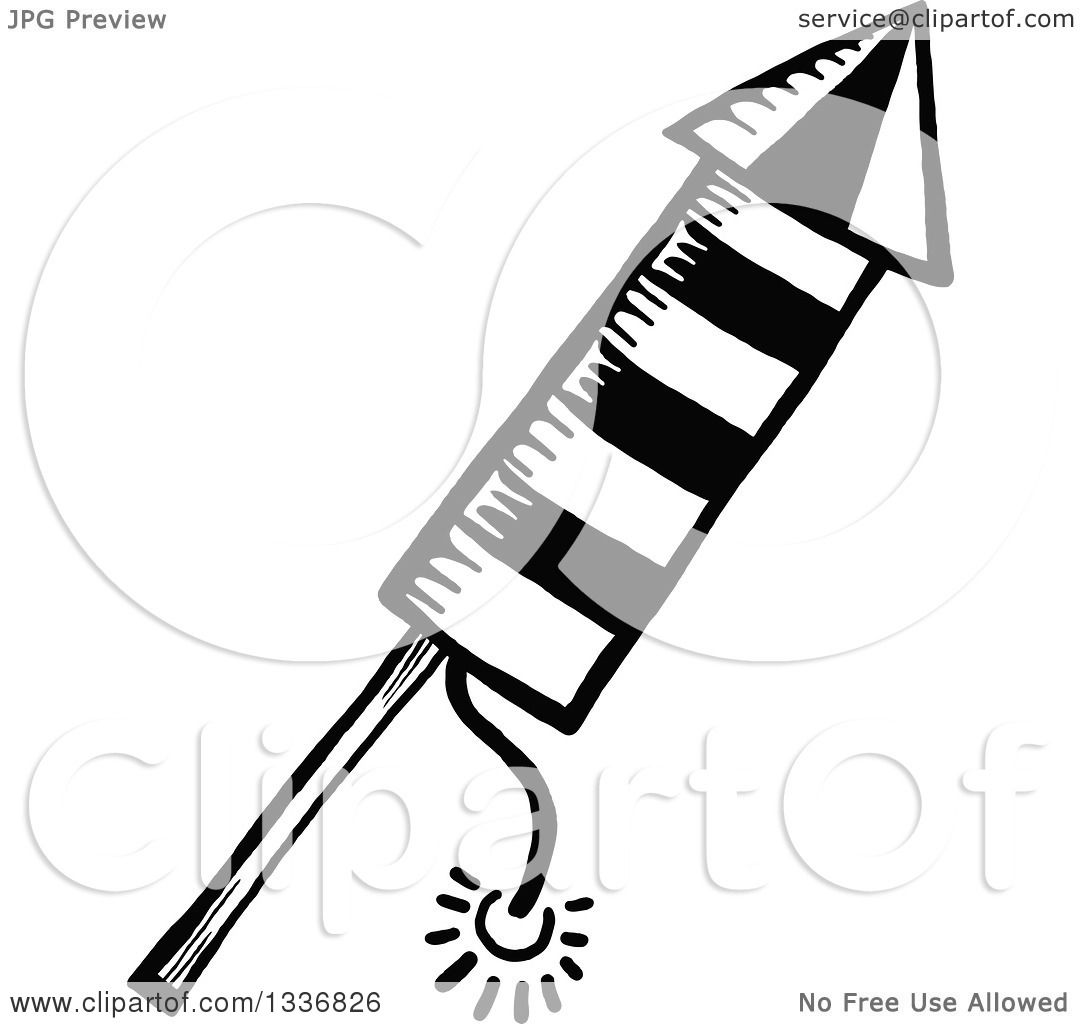Clipart Of A Sketched Doodle Of A Black And White Rocket