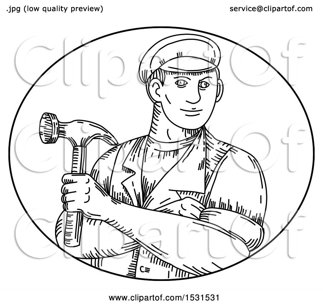 Clipart Of A Sketched Handyman Or Carpenter Holding A