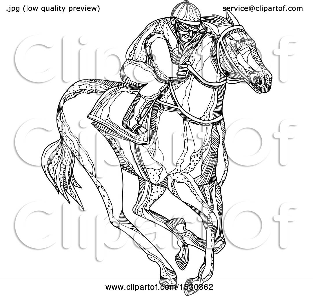 Clipart Of A Sketched Jockey Racing A Horse