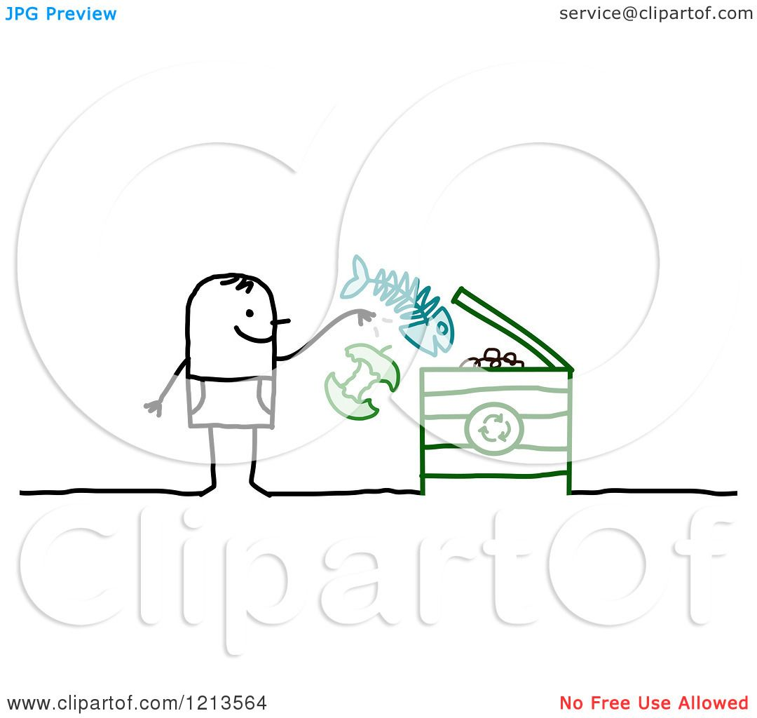 Clipart Of A Stick People Man Tossing Food Into A Compost