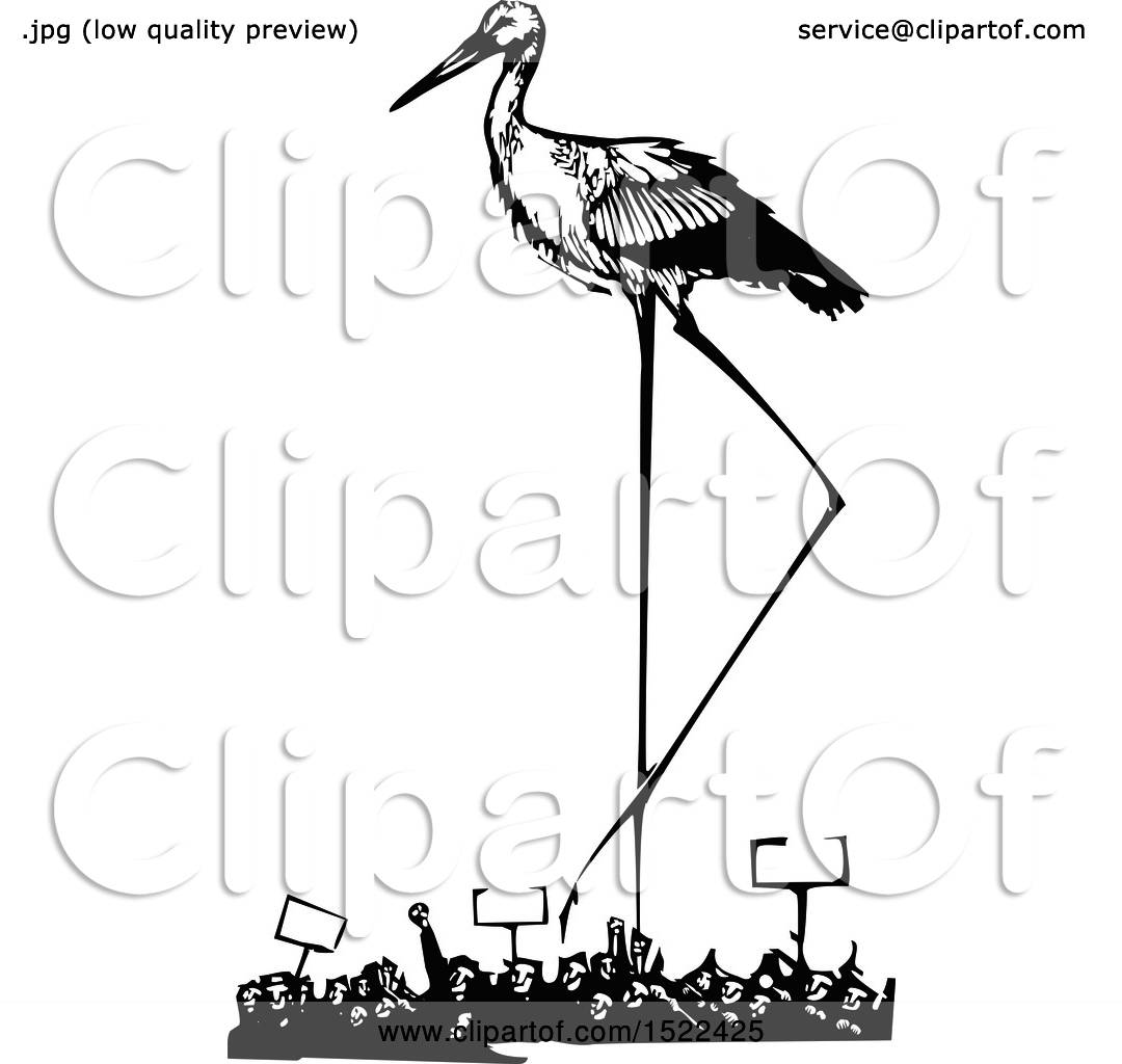 Clipart Of A Stork Bird Over A Crowd Of Protesters Black