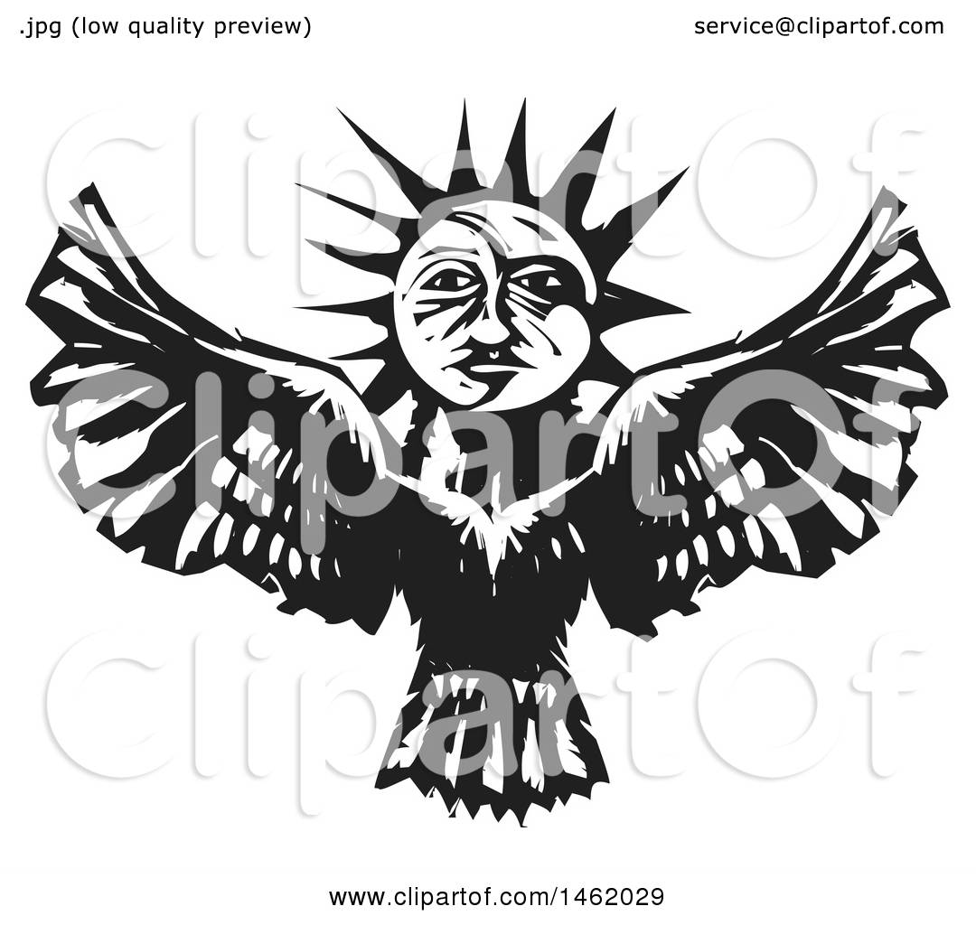 Clipart Of A Sun And Moon Headed Flying Eagle Black And